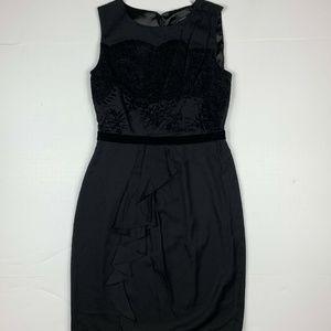 Elie Tahari Dress Black lace sheath ruffle Sz XS